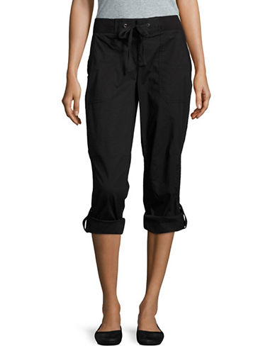 Lord & Taylor Poplin Roll-Up Capri Pants-BLACK-Small 89074658_BLACK_Small