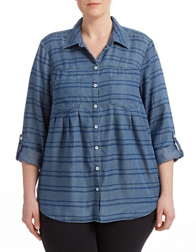 Style And Co. Plus Striped Denim Shirt-BLUE-1X