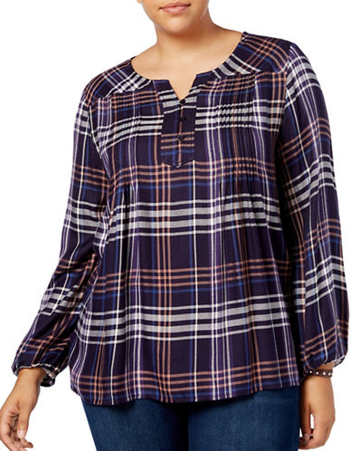 Style And Co. Plaid Babydoll Tunic-PURPLE-Large