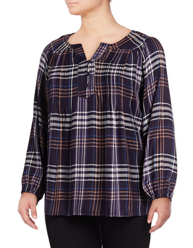 Style And Co. Plus Plus Plaid Tunic-GRAPE-2X