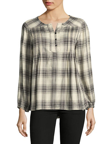 Style And Co. Icon Plaid Blouse-WHITE PLAID-Large