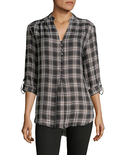 Lord & Taylor Thea Pop Over Shirt-CHARCOAL-X-Small