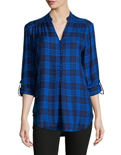 Lord & Taylor Thea Pop Over Shirt-BLUE-Small