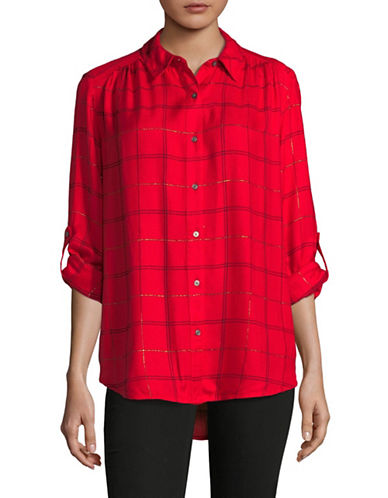 Lord & Taylor Sunny Cotton Button-Down Shirt-RED-Small