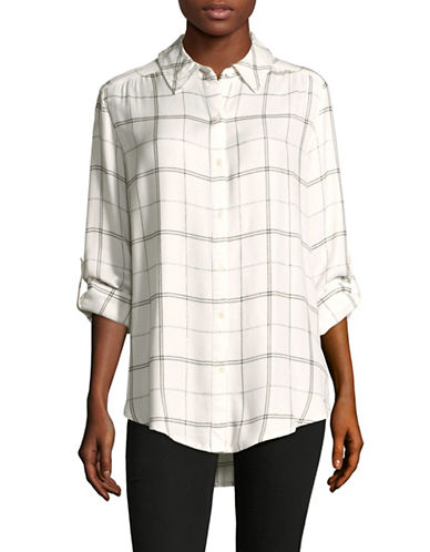Lord & Taylor Sunny Cotton Button-Down Shirt-WHITE-Small
