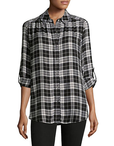 Lord & Taylor Plus Sunny Button-Down Shirt-BLACK MULTI-2X