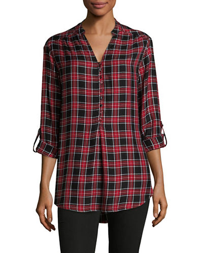 Lord & Taylor Petite Plaid Button-Up Top-RED-Petite Large