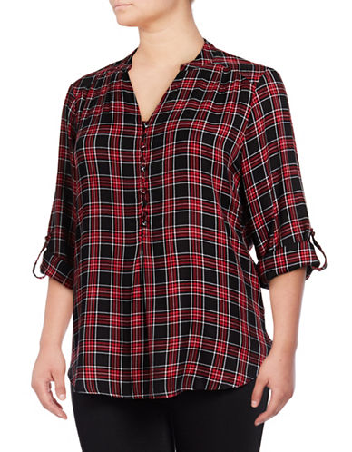 Lord & Taylor Plus Thea Pop Over Shirt-RED-0X