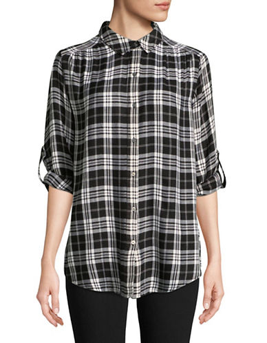 Lord & Taylor Petite Sunny Cotton Button-Down Shirt-BLACK-Petite Large
