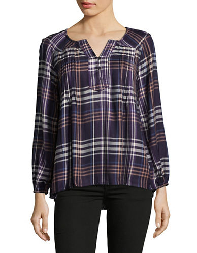 Style And Co. Petite Plus Plaid Tunic-PURPLE-Petite X-Large