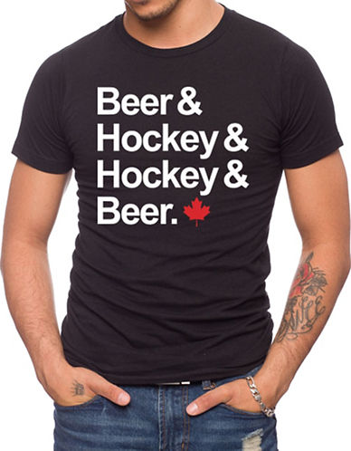 Jack Of All Trades Canada 150 Beer and Hockey T-Shirt-BLACK-Medium