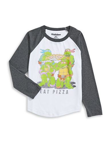 Licensed Tees Ninja Turtles Eat Pizza Long Sleeve T-Shirt-WHITE-Medium plus size,  plus size fashion plus size appare