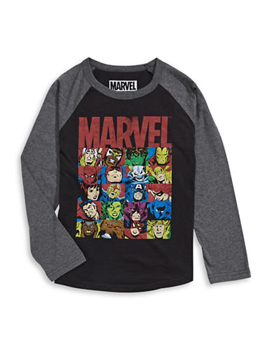 Licensed Tees Marvel Collage Long Sleeve T-Shirt-BLACK-Medium plus size,  plus size fashion plus size appare