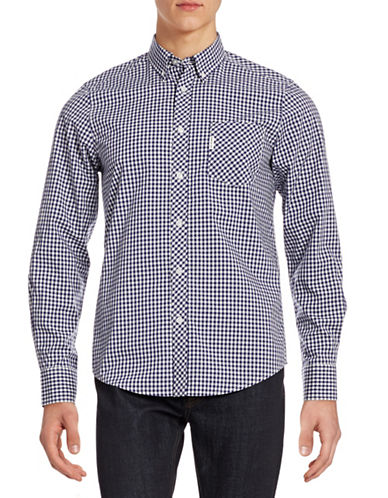 Ben Sherman Gingham Cotton Sport Shirt-MEDIUM BLUE-Medium
