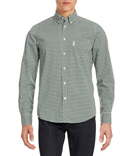 Ben Sherman Gingham Cotton Sport Shirt-DARK GREEN-Large