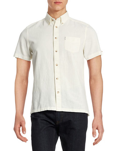 Ben Sherman Short Sleeve Linen Shirt-WHITE-Small