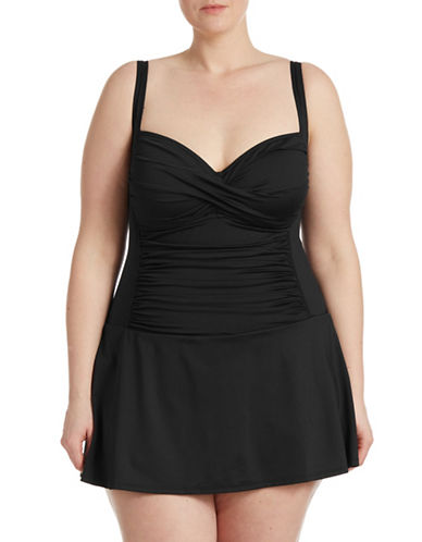 La Blanca Plus Island Goddess Tummy Control Skirted Swimsuit-BLACK-20W