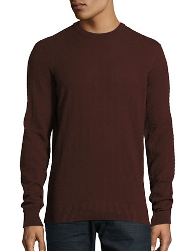 Ben Sherman Textured Crew Neck Sweater-RED-Medium 88581223_RED_Medium
