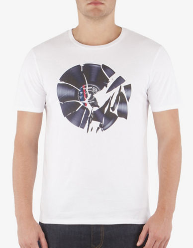 Ben Sherman Shattered Record T-Shirt-WHITE-Medium