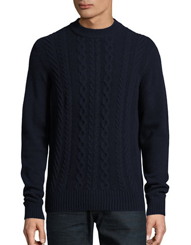 Ben Sherman Cable Front Lambswool-Blend Sweater-BLUE-Medium 88816703_BLUE_Medium