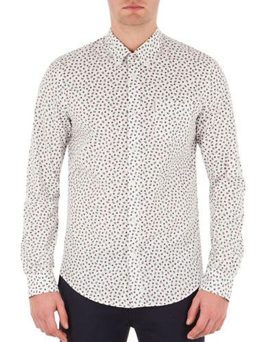 Ben Sherman Sixties Sharp Printed Sport Shirt-WHITE-Large