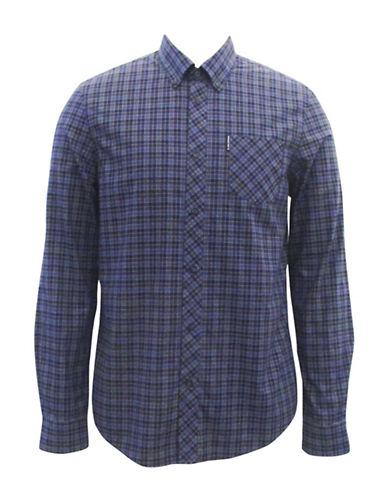 Ben Sherman Soho Plaid Sport Shirt-PURPLE-X-Large