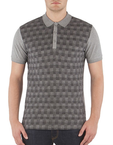 Ben Sherman Gingham Herringbone Jacquard Polo-SILVER-Medium