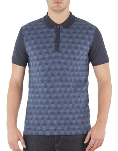 Ben Sherman Gingham Herringbone Jacquard Polo-NAVY-XX-Large