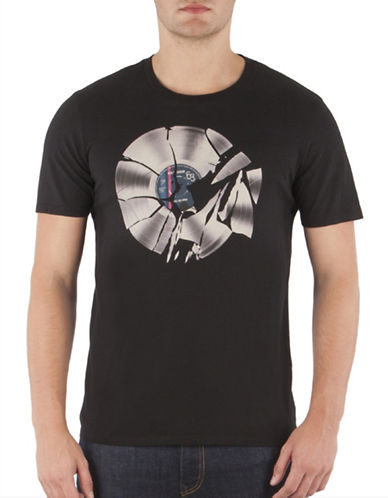 Ben Sherman Shattered Record T-Shirt-TRUE BLACK-Small
