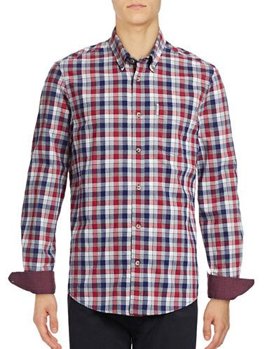 Ben Sherman Long Sleeve Marl Multi Gingham Shirt-RED-Small