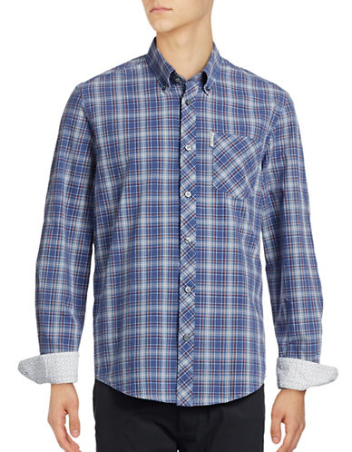 Ben Sherman Long Sleeve Tartan Shirt-BLUE-Large