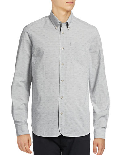 Ben Sherman Long Sleeve Two-Tone Texture Shirt-NATURAL-Large