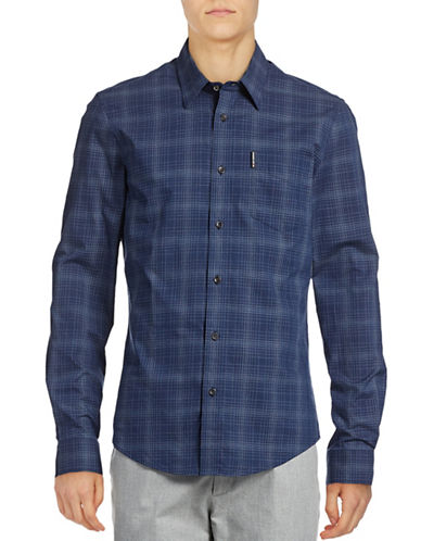 Ben Sherman Long Sleeve Grindle Check Shirt-BLUE-Small