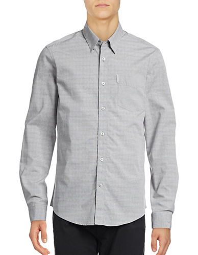 Ben Sherman Long Sleeve SoHo End on End Gingham Shirt-NATURAL-Large