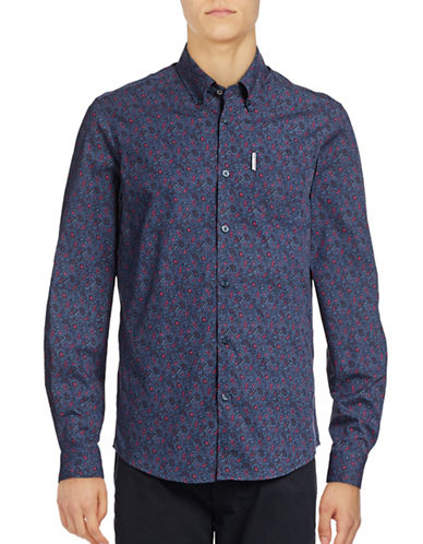 Ben Sherman Long Sleeve Mod Print Paisley Shirt-NAVY-Small