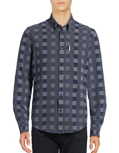Ben Sherman Long Sleeve Checkerboard Shirt-BLUE-Large