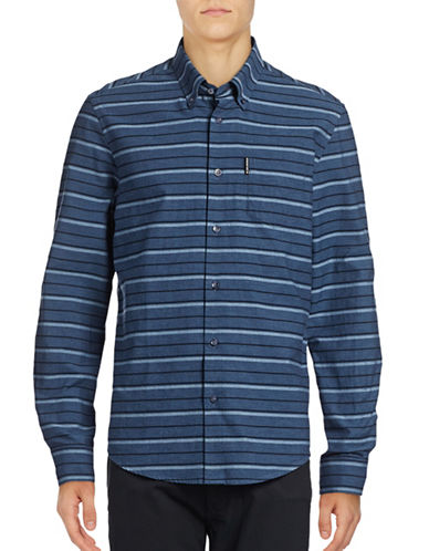 Ben Sherman Long Sleeve Tipping Horizontal Stripe Marl Shirt-BLUE-Medium
