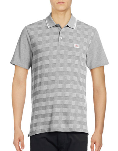 Ben Sherman Twotone Pique Checkerboard Polo-BLUE-Small