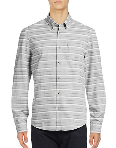 Ben Sherman Long Sleeve Tipping Horizontal Stripe Marl Shirt-NATURAL-Large