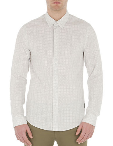 Ben Sherman Slim Fit Optic Checkerboard Sport Shirt-WHITE-Small