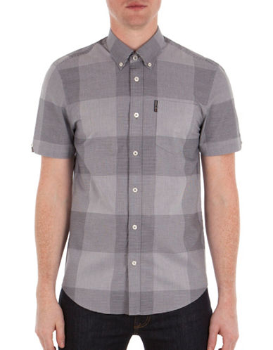 Ben Sherman Micro Gingham Sport Shirt-NAVY-Medium