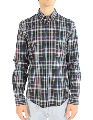 Ben Sherman West Coast Sound Studio Madras Checked Sport Shirt-NAVY-Small