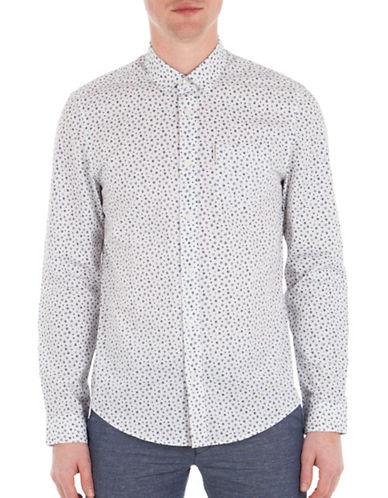 Ben Sherman Micro Floral Printed Geo Shirt-WHITE-X-Large