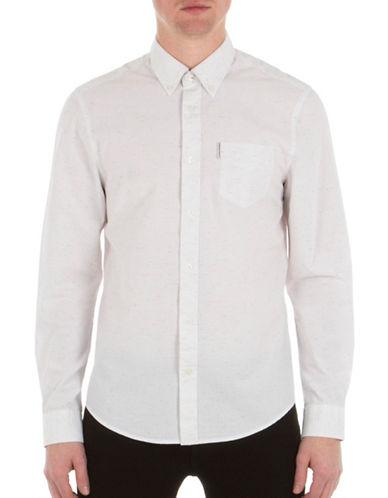 Ben Sherman Plain Button-Down Shirt-WHITE-Small