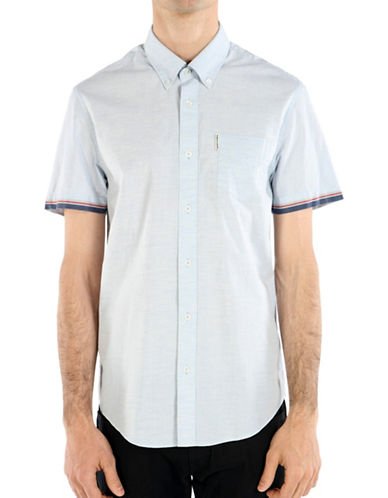 Ben Sherman British Beat Marl Tipped Sport Shirt-BLUE-Small