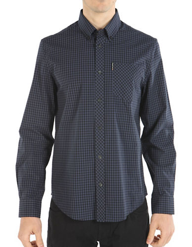 Ben Sherman Core Gingham Sport Shirt-GREY-X-Large