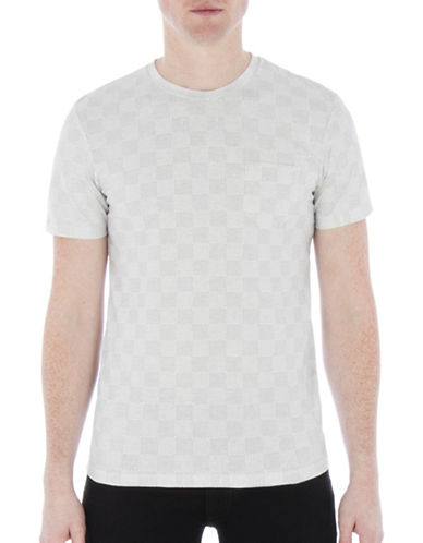 Ben Sherman British Beat Mixed-Textured Checkerboard Tee-WHITE-X-Large