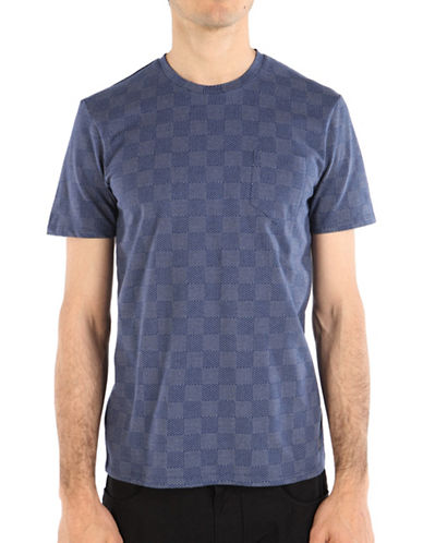 Ben Sherman British Beat Mixed-Textured Checkerboard Tee-INDIGO-X-Large