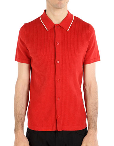 Ben Sherman British Beat Button Through Polo-RED-Small