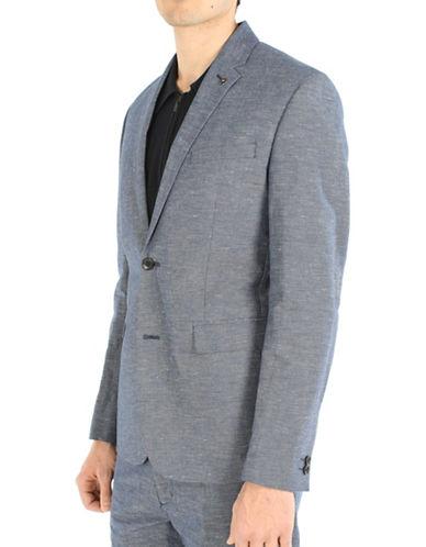 Ben Sherman West Coast Sound Studio Classic Fit Linen-Blend Sports Jacket-INDIGO-Small